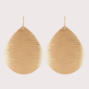 Chunky Brushed Gold Teardrop Dangle Earrings